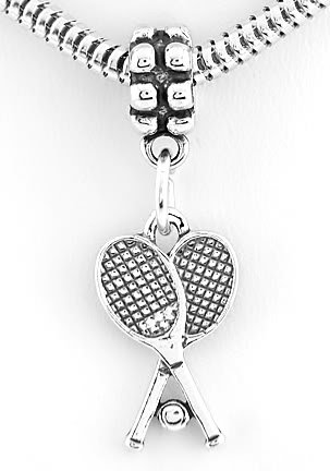 STERLING SILVER DANGLING TENNIS RACKET & BALL EUROPEAN BEAD
