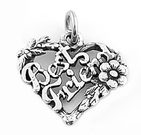STERLING SILVER BEST FRIEND FLOWERED HEART CHARM/PENDANT