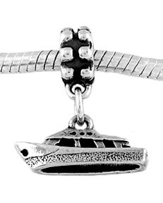 STERLING SILVER DANGLE BOAT/ SPEED BOAT EUROPEAN  BEAD