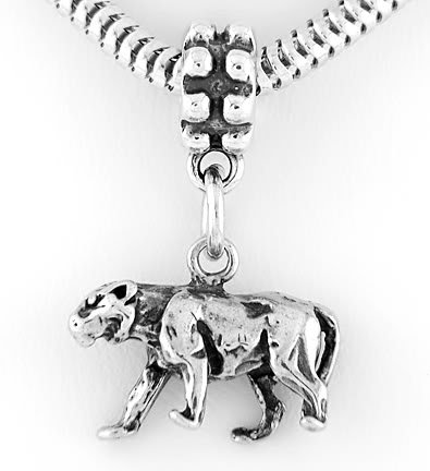 STERLING SILVER DANGLING PANTHER EUROPEAN BEAD