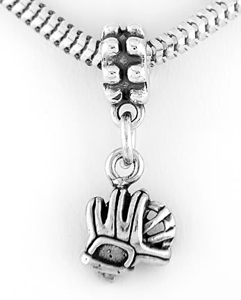 STERLING SILVER DANGLE BEAD BASEBALL GLOVE EUROPEAN BEAD