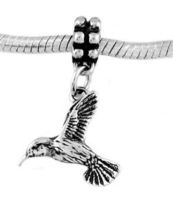STERLING SILVER DANGLE FLYING HUMMINGBIRD EUROPEAN BEAD