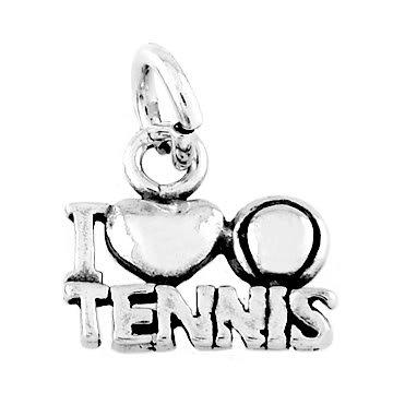 STERLING SILVER I LOVE TENNIS CHARM/PENDANT