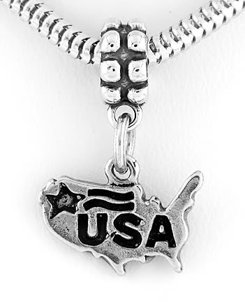 STERLING SILVER DANGLING BEAD USA MAP EUROPEAN BEAD