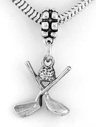 STERLING SILVER DANGLING BEAD GOLF CLUBS WITH BALL EUROPEAN BEAD