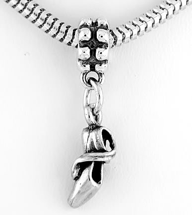 STERLING SILVER DANGLING BEAD BALLET SLIPPER EUROPEAN BEAD