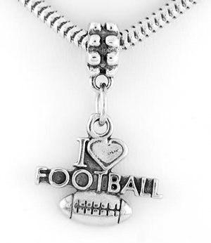 STERLING SILVER DANGLE I LOVE FOOTBALL EUROPEAN BEAD