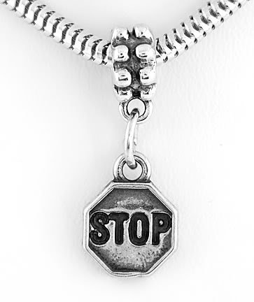 STERLING SILVER DANGLING STOP SIGN EUROPEAN BEAD