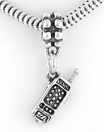 STERLING SILVER DANGLING CELL PHONE EUROPEAN BEAD