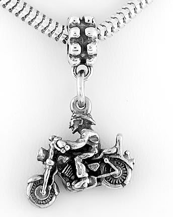 STERLING SILVER DANGLE MAN ON MOTORCYCLE EUROPEAN BEAD
