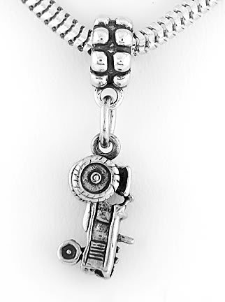 STERLING SILVER DANGLING TRACTOR EUROPEAN BEAD