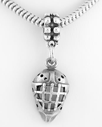 STERLING SILVER DANGLING HOCKEY MASK EUROPEAN BEAD