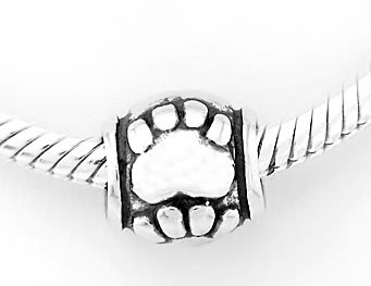 STERLING SILVER PAWS BEAD FIT ALL EUROPEAN BRACELET