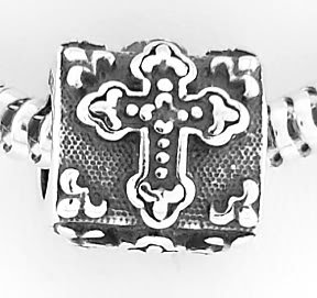 STERLING SILVER FANCY CROSS BEAD FIT EUROPEAN BRACELETS