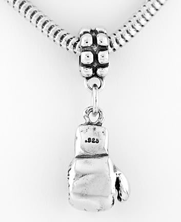 STERLING SILVER DANGLING 3D BOXING GLOVE EUROPEAN BEAD