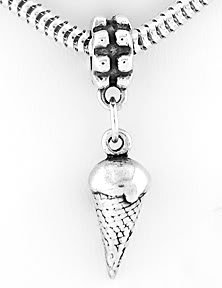 STERLING SILVER DANGLING 3D ICE CREAM CONE EUROPEAN BEAD