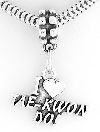 STERLING SILVER DANGLING I LOVE TAE KWON DO EUROPEAN BEAD