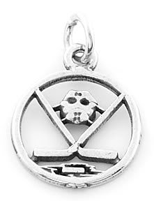 STERLING SILVER CUT OUT HOCKEY STICKS WITH MASK CHARM/PENDANT