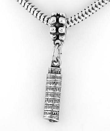 STERLING SILVER DANGLE LEANING TOWER OF PISA EUROPEAN BEAD