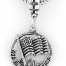STERLING SILVER DANGLING GOD BLESS AMERICA FLAG EUROPEAN BEAD