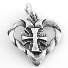 STERLING SILVER HEART WITH CROSS INSIDE CHARM/PENDANT