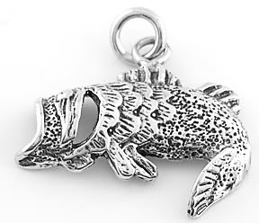 STERLING SILVER OPEN MOUTH BASS FISH CHARM/PENDANT