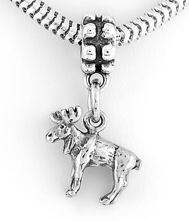 STERLING SILVER DANGLING 3D MOOSE EUROPEAN BEAD