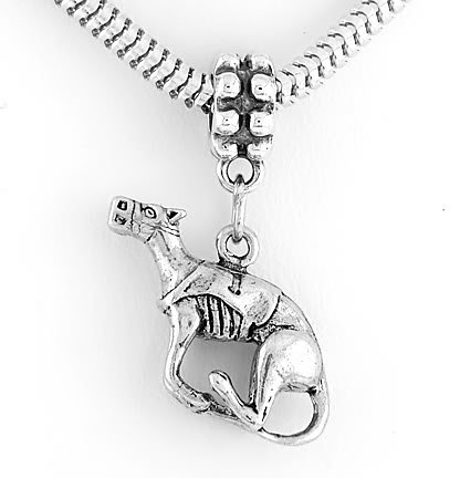 STERLING SILVER DANGLING RACING GREYHOUND EUROPEAN BEAD