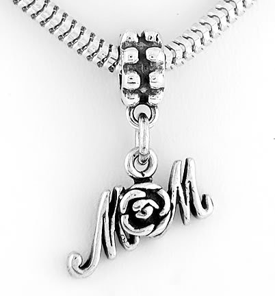 STERLING SILVER DANGLING MOM W/ROSE EUROPEAN BEAD