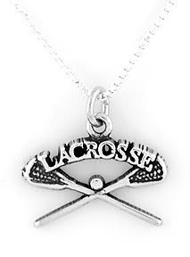 STERLING SILVER LACROSSE STICKS CHARM WITH NECKLACE