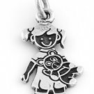 "STERLING SILVER ""GIRL WITH TEDDY BEAR"" SOLID CHARM"