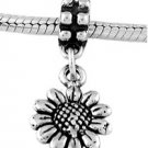 STERLING SILVER DANGLE SUNFLOWER EUROPEAN BEAD