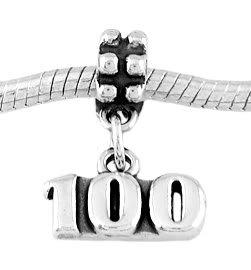 STERLING SILVER DANGLE NUMBER 100 EUROPEAN BEAD