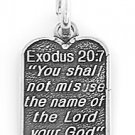 SILVER EXODUS 20:7 TEN COMMANDMENT NUMBER 3  CHARM/PENDANT