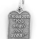 STERLING SILVER EXODUS 20:15 TEN COMMANDMENT #8 CHARM/PENDANT