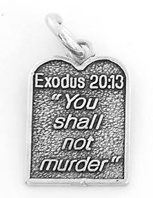 STERLING SILVER EXODUS 20:13 TEN COMMANDMENT #6 CHARM/PENDANT