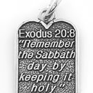 STERLING SILVER EXODUS 20:8 TEN COMMANDMENT #4 CHARM/PENDANT