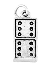 STERLING SILVER DOMINO GAME PIECE CHARM/PENDANT