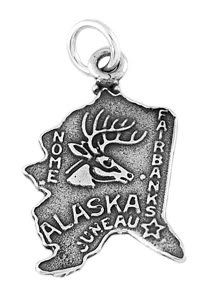 STERLING SILVER STATE OF ALASKA CHARM/PENDANT