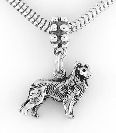 STERLING SILVER 3D COLLIE DOG DANGLING EUROPEAN BEAD