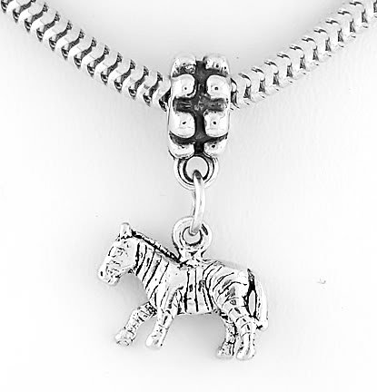 STERLING SILVER 3D ZEBRA DANGLING EUROPEAN BEAD
