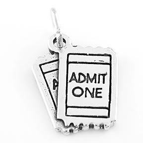 STERLING SILVER ADMIT ONE TICKET CHARM/PENDANT