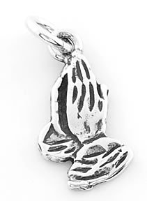STERLING SILVER PRAYING HANDS CHARM/PENDANT