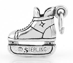 STERLING SILVER 3D HOCKEY ICE SKATE CHARM/PENDANT