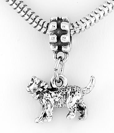 STERLING SILVER DANGLING CAT EUROPEAN BEAD