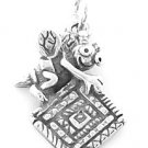 STERLING SILVER QUILTING BEE CHARM/PENDANT