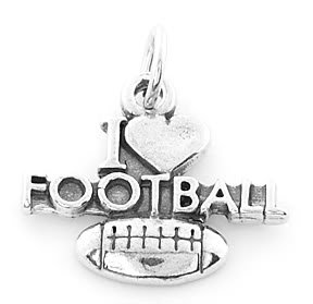 STERLING SILVER I LOVE FOOTBALL CHARM/PENDANT