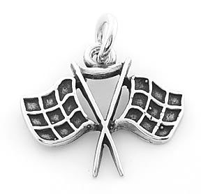 STERLING SILVER RACING FLAG CHARM/PENDANT