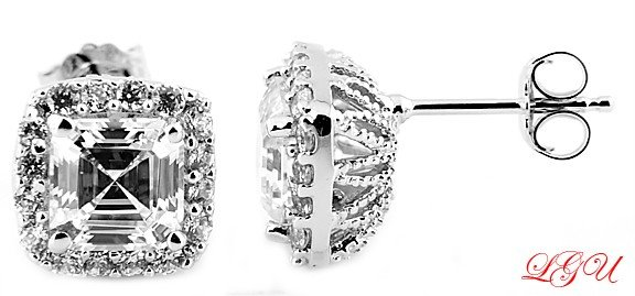 Sterling Silver 6MM CZ Asscher and Round Cut Stud Earrings