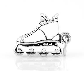 STERLING SILVER SMALL INLINE SKATE CHARM/PENDANT